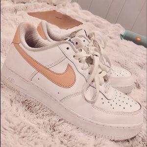 Pink Swoosh Nike Air Force 1s
